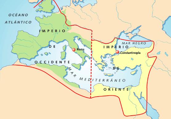 Resultado de imagen de mapa de la división del Imperio romano y las invasiones germanas