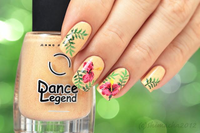 dance legend smoky, moyou london paradise collection, stamping nail, スタンピングネイル, ネイルスタンプ, 夏ネイル, ハイビスカスネイル