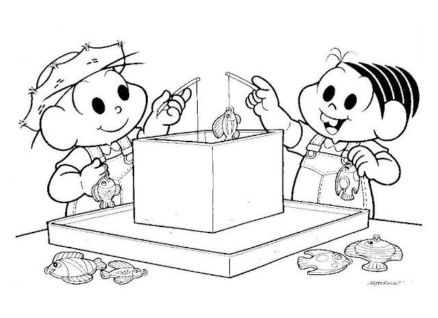 Desenhos da Turma da Mônica para Colorir - Cebolinha e Mônica Festa Junina