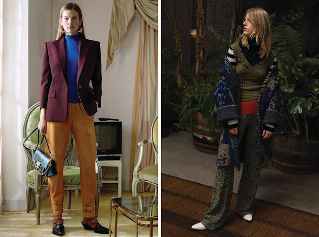 Сочетание расщепленных дополняющих цветов синего, фиолетового и горчичного, зеленого и синего и красно-оранжевого в одежде
