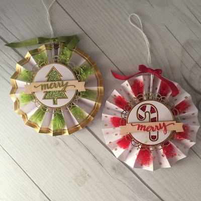 Rosettes for tree ornaments, wreaths, or package tags