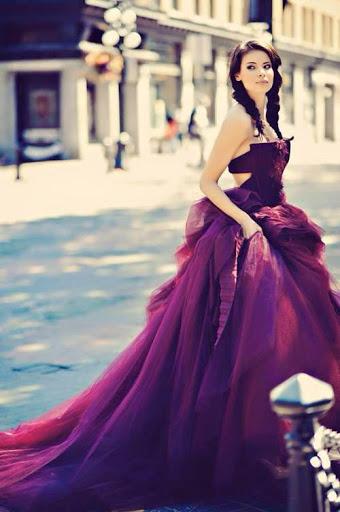 Beautiful Girl with Purple Dress