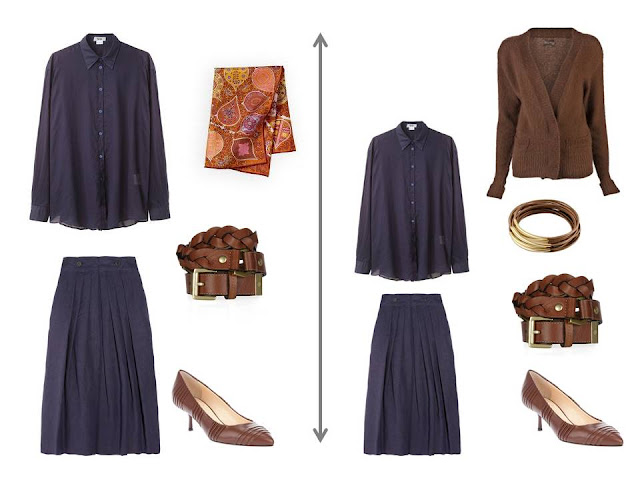 navy blouse with a matching navy skirt, brown accessories and a brown cardigan