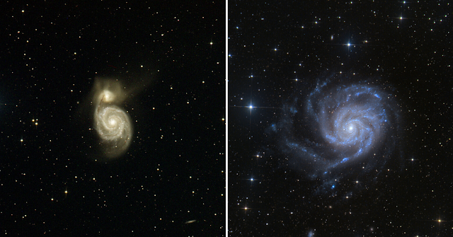 M51 - The Whirlpool Galaxy in Canes Venatici (left) and M101 - The Pinwheel Galaxy (right) in Ursa Major imaged on Insight Observatory's ATEO-1 by Michael Petrasko (M51) and Utkarsh Mishra (M101).