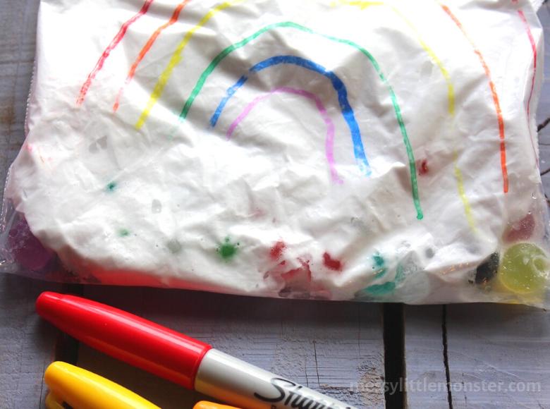 shaving cream sensory bag for toddlers