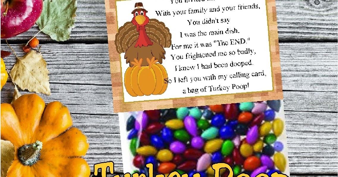 Turkey Poop Printable Bag Topper for Thanksgiving Dinner DIY Party Mom