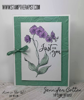 This Mint Macaron and Highland Heather card uses Stampin' Up!'s Rare Blessings stamp set.  Click the picture to go to the blog and see a video!  #StampinUp #StampTherapist