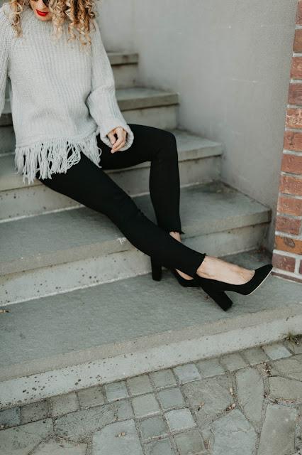 black stacked heels