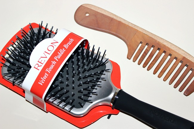 Revlon velvet touch paddle brush, wooden comb