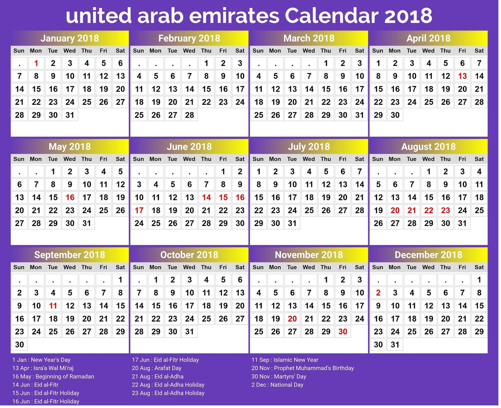 2018 calendar uae merry christmas happy new year
