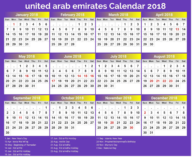 2018 calendar uae merry christmas happy new year