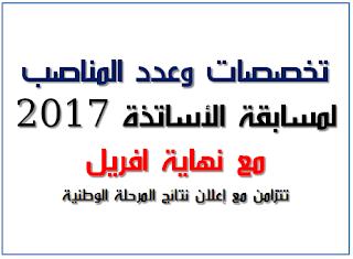 اعلان تخصصات وعدد مناصب مسابقة الاساتذة 2017 بالتفصيل مع نهاية الشهر