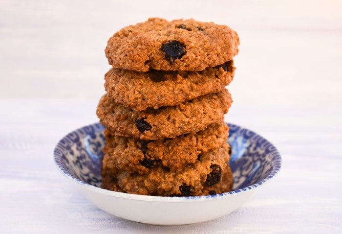 Stack of Easy Almond & Raisin Cookies