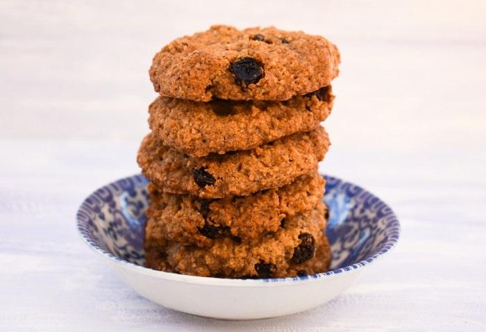 Stack of Easy Almond & Raisin Cookies