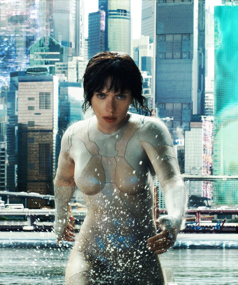 Scarlett Johansson wearing her Ghost in the Shell character's 'nude' thermoptic suit (Not really naked)