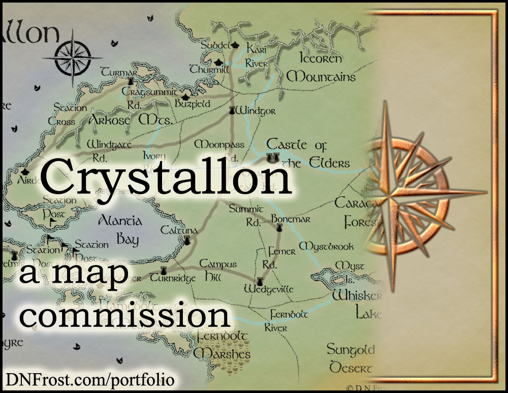 Crystallon: fantasy realm of Monica Spath http://www.dnfrost.com/2015/08/crystallon-map-commission.html A map commission by D.N.Frost @DNFrost13 Part 1 of a series.