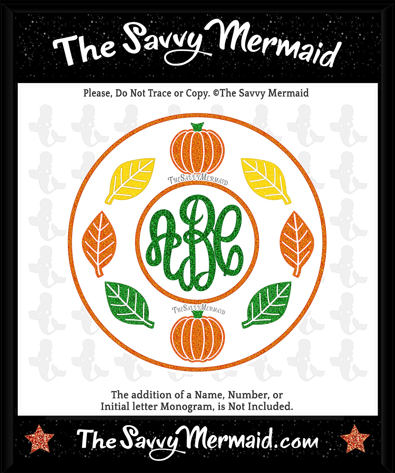 free fall monogram frame design file silhouette