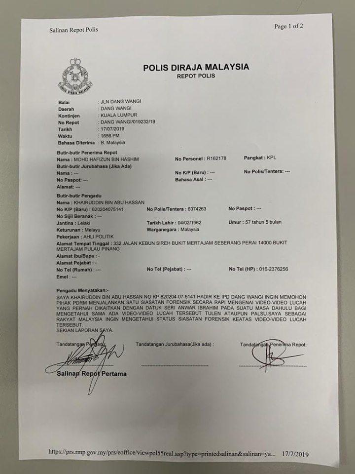 Khairuddin Lapor Polis Gesa Klip Video Seks Dikaitkan Anwar Disiasat Minda Rakyat