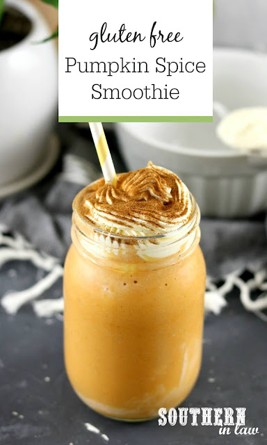 Easy Healthy Pumpkin Spice Smoothie Recipe - gluten free, vegan, homemade pumpkin spice latte, fall, dairy free, sugar free