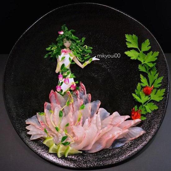 """Đĩa sashimi của ông bố Nhật khiến người ta thực sự """"không nỡ ăn"""""""
