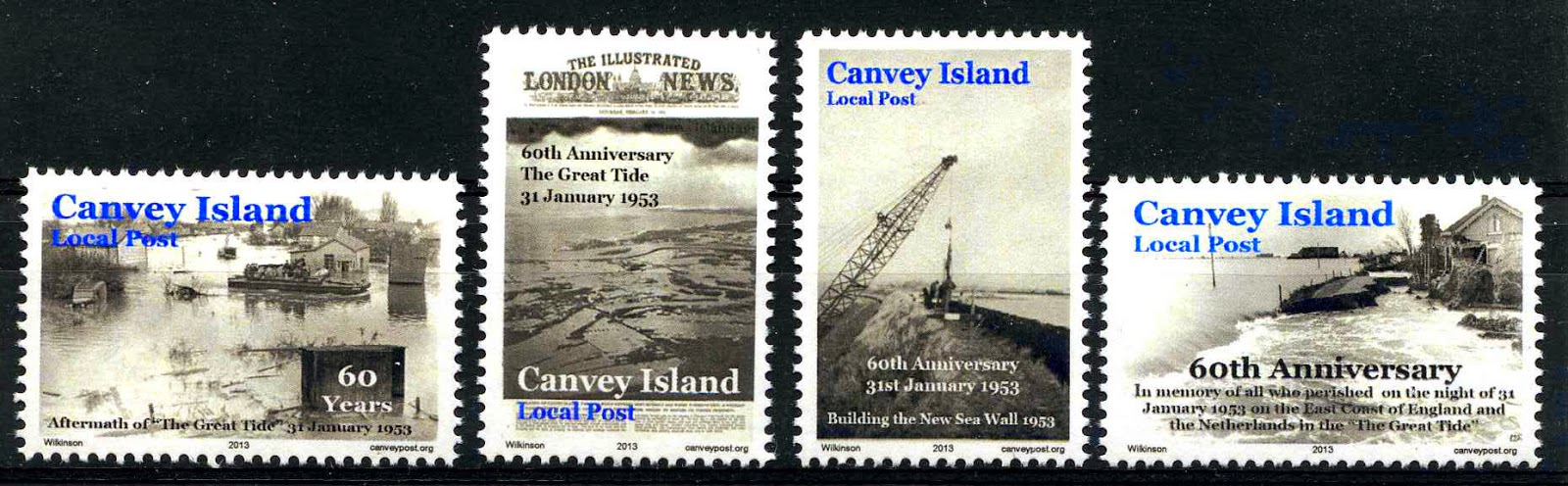 Great Tide 1953 Canvey Island stamp set