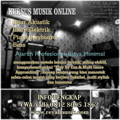 kursus les musik online gitar piano keyboard bass terbaik biaya murah