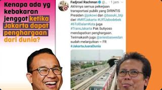 Jakarta Raih Penghargaan, Fadjroel Sebut Karena Jokowi dan Ahok, Langsung Diskak Mat Netizen