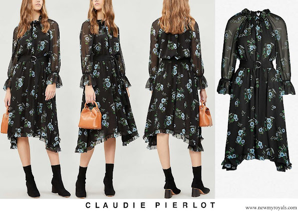Princess Eugenie wore CLAUDIE PIERLOT Romilly floral-print-ruffle trim chiffon dress