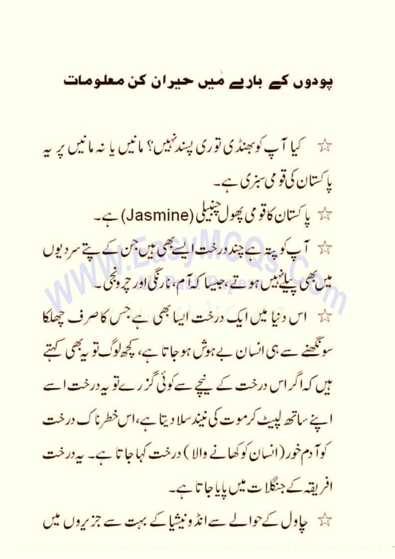 Solved URDU General Knowledge Question Answers About Plants Trees and Flower