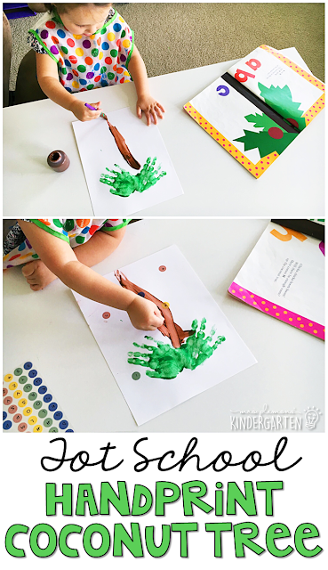 These handprint coconut trees are fun for alphabet and fine motor practice with a Chicka Chicka Boom Boom theme. Great for tot school, preschool, or even kindergarten!