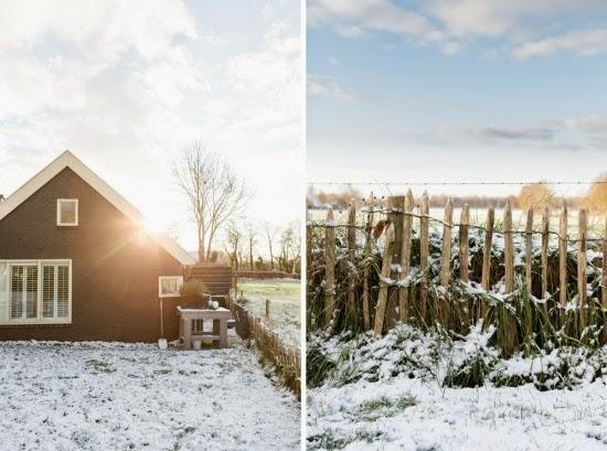 casa en la nieve vintage