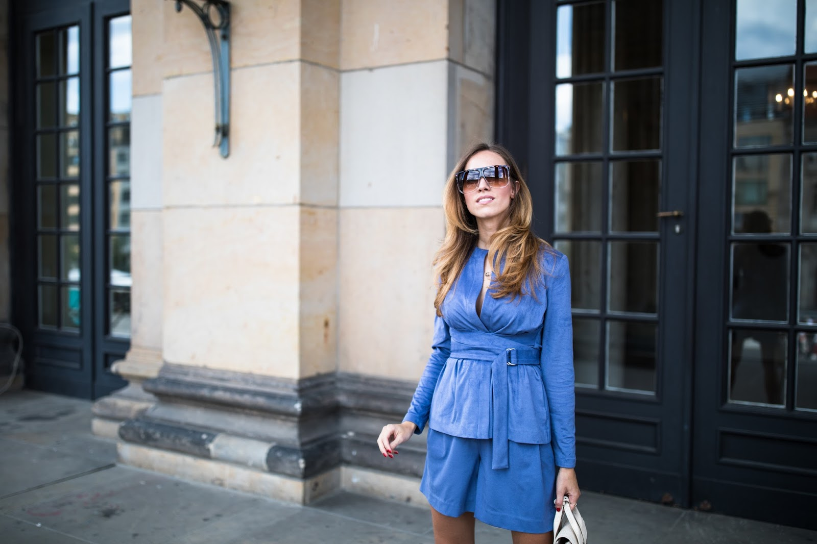 blue suede summer suit outfit