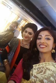 Watching puja pandals by bus. Srijit Jaya and Paoli