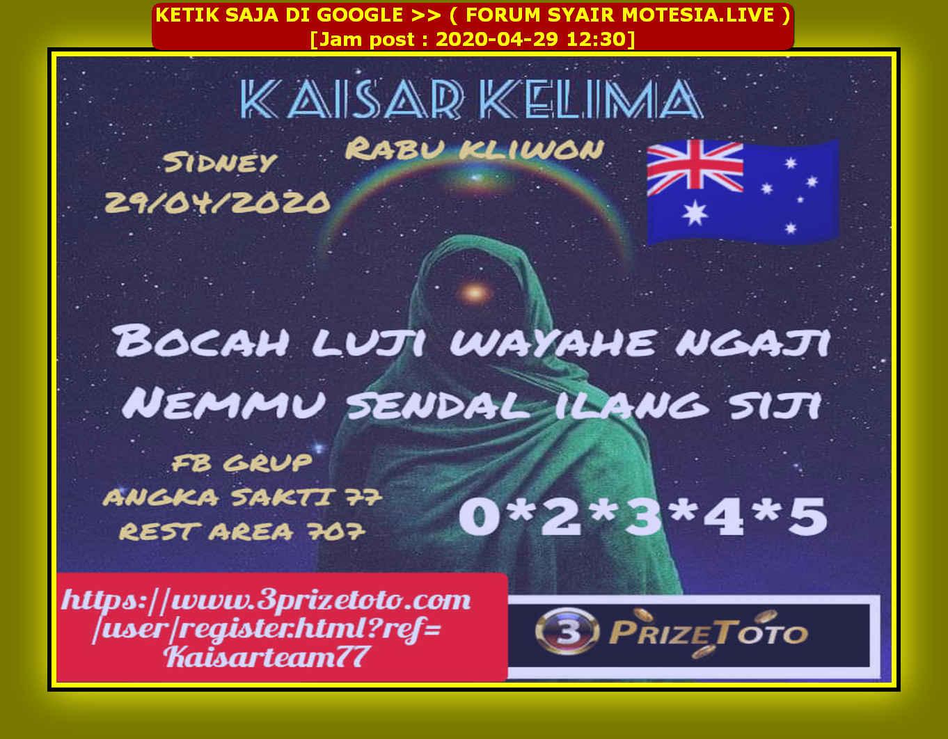 Kode syair Sydney Rabu 29 April 2020 16