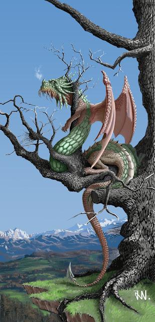 Ilustración de un Cuélebre de montaña sobre roble viejo