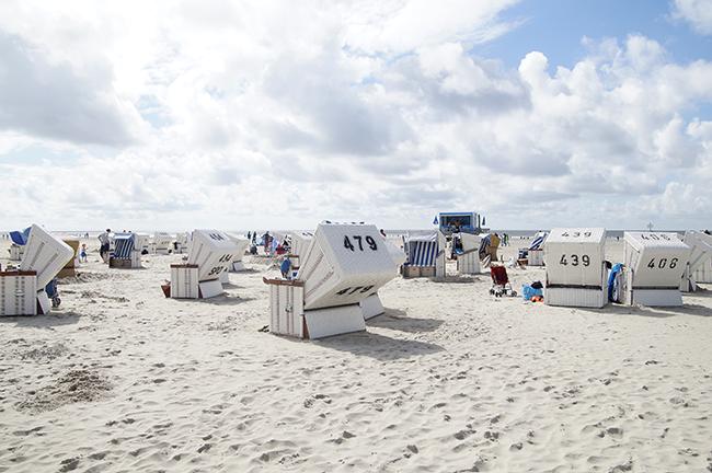 Am Strand von Sankt Peter Ording. SPO. Strandkörbe.