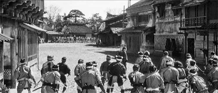 A battle is about to ensue in Akira Kurosawa's 1961 film Yojimbo.
