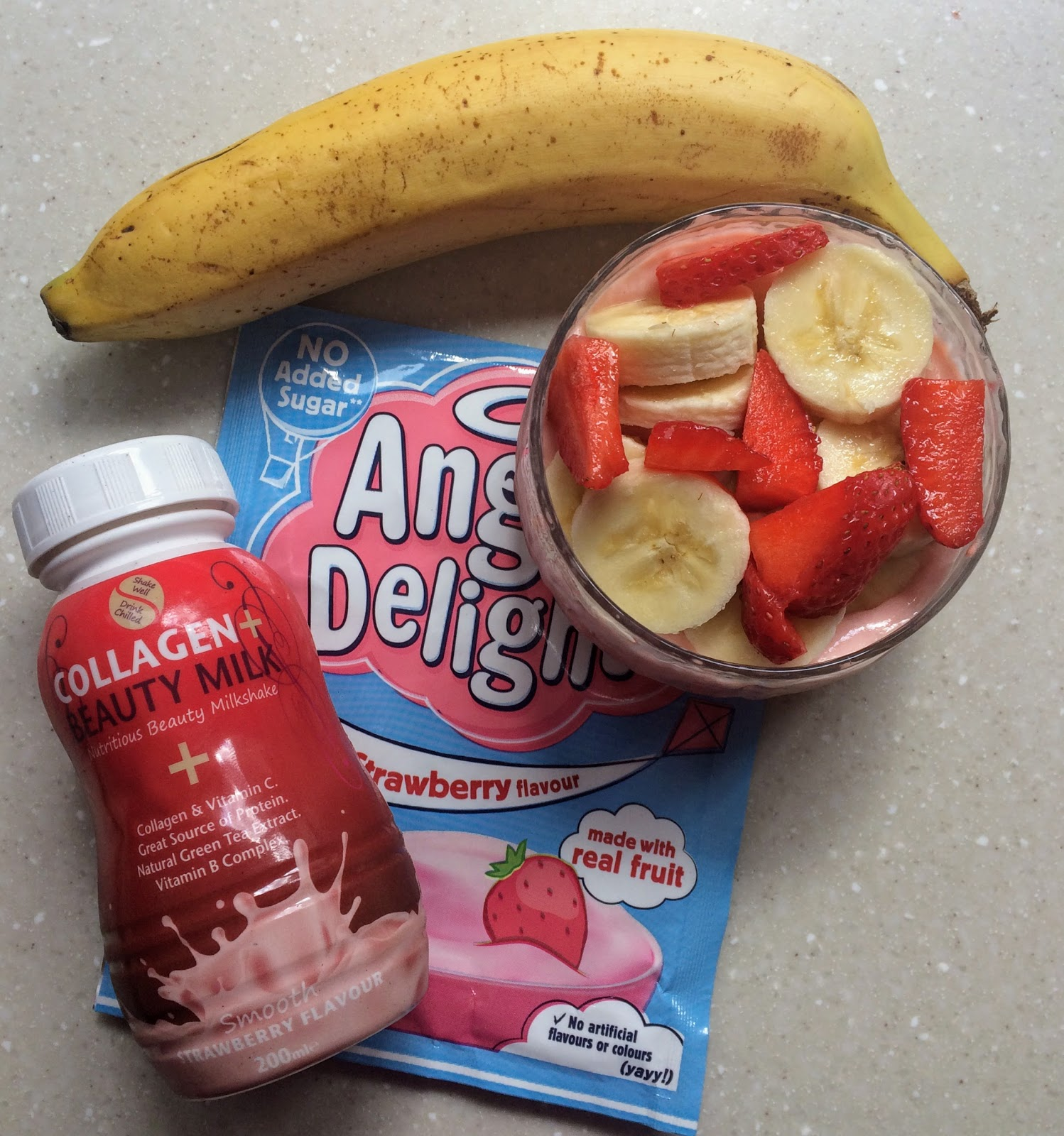 Collagen Beauty Milk and Strawberry sugar free angel delight