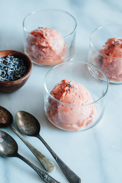 No-Churn Roasted Nectarine & Lavender Sorbet (AIP, Paleo, Vegan variation)