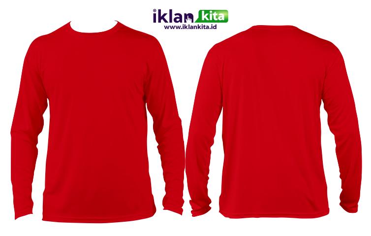 Mentahan Kaos Polos Merah Depan Belakang