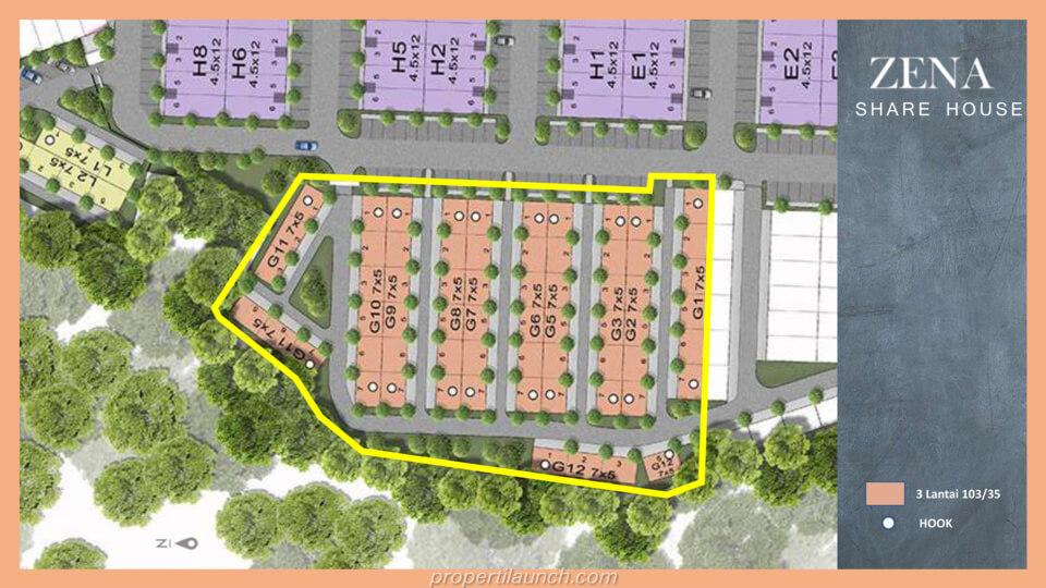 Siteplan Rumah Kost Zena at Mozia BSD
