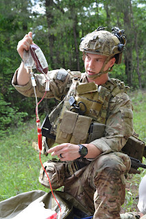 A 75th Ranger Regiment Medic  trains to deliver whole blood on the  battlefield.
