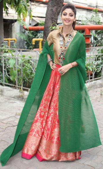 Shilpa Shetty in Brocade Skirt and Gold Button Front Shirt by Payal Khandwala