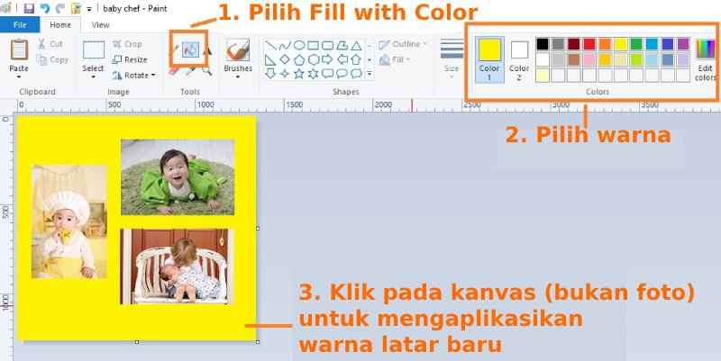 Tahapan merubah warna latar kanvas di Paint