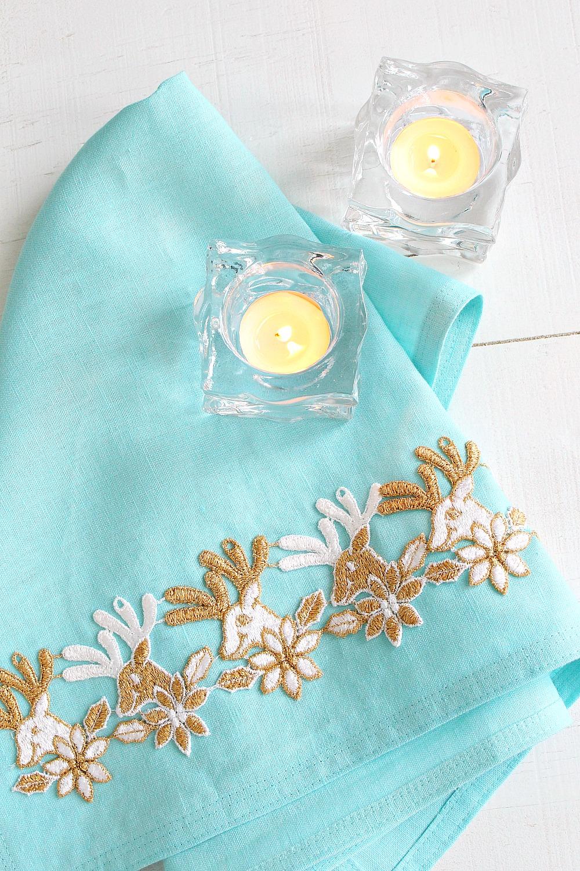 DIY Holiday Tea Towel with Reindeer Embroidery Trim