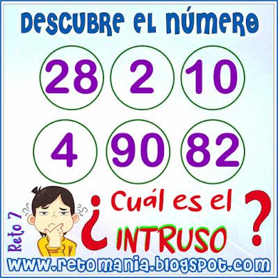 Cuadrado mágico, Desafíos matemáticos, Retos matemáticos, Problemas matemáticos, Retos mentales, Descubre el número, Busca el número, El número oculto, El Intruso, Intruso matemático