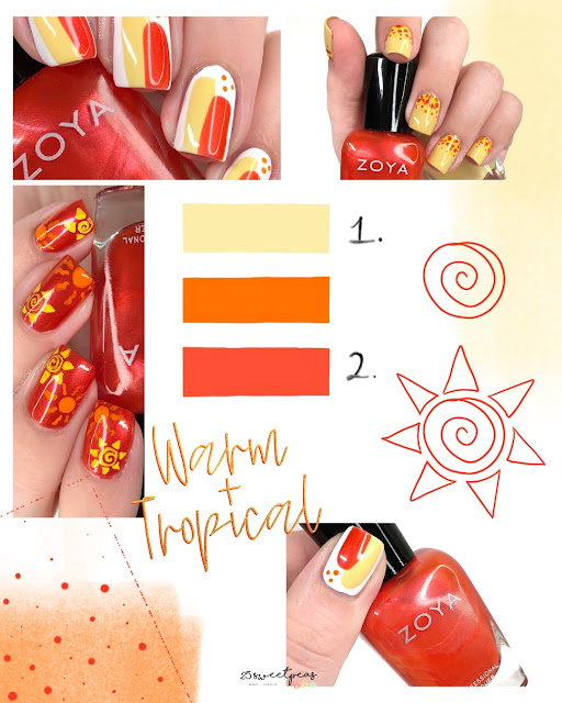 Warm and Tropical Nail Art Palette