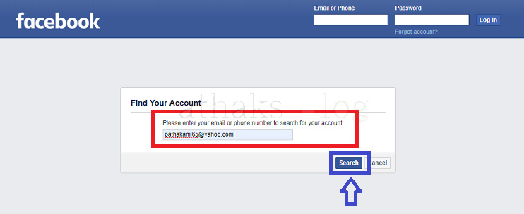 I forgot my facebook password,facebook find your account, pathaks blog, anil pathak