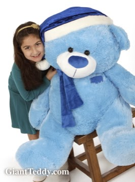 45in Marty Shags Blue Christmas Teddy Bear in a Blue Santa Hat