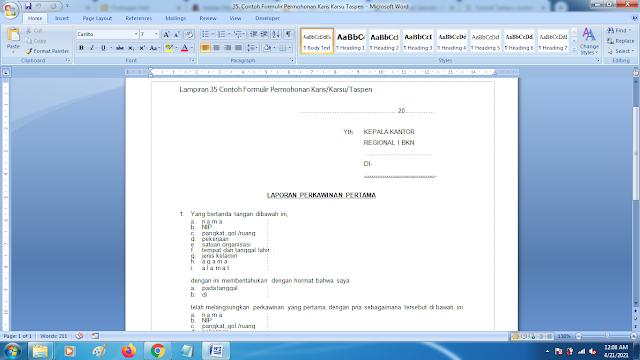 Format Terbaru Contoh Formulir Permohonan Karis/Karsu/Taspen